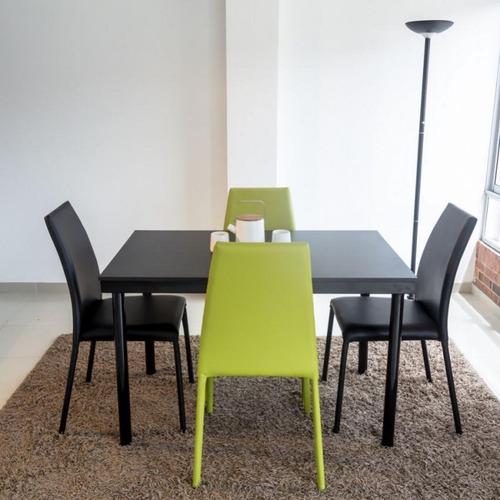 juego de comedor 4 puestos venecia con sillas-negro-verde