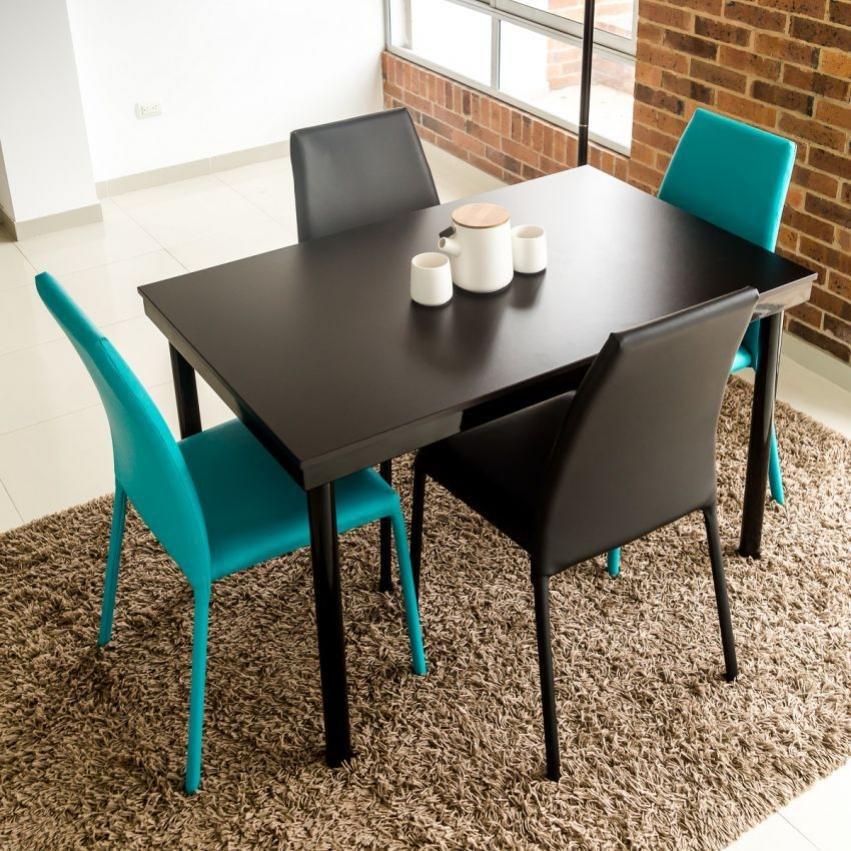 Juego de comedor 4 puestos venecia tipo loft sillas for Comedor 4 puestos madera