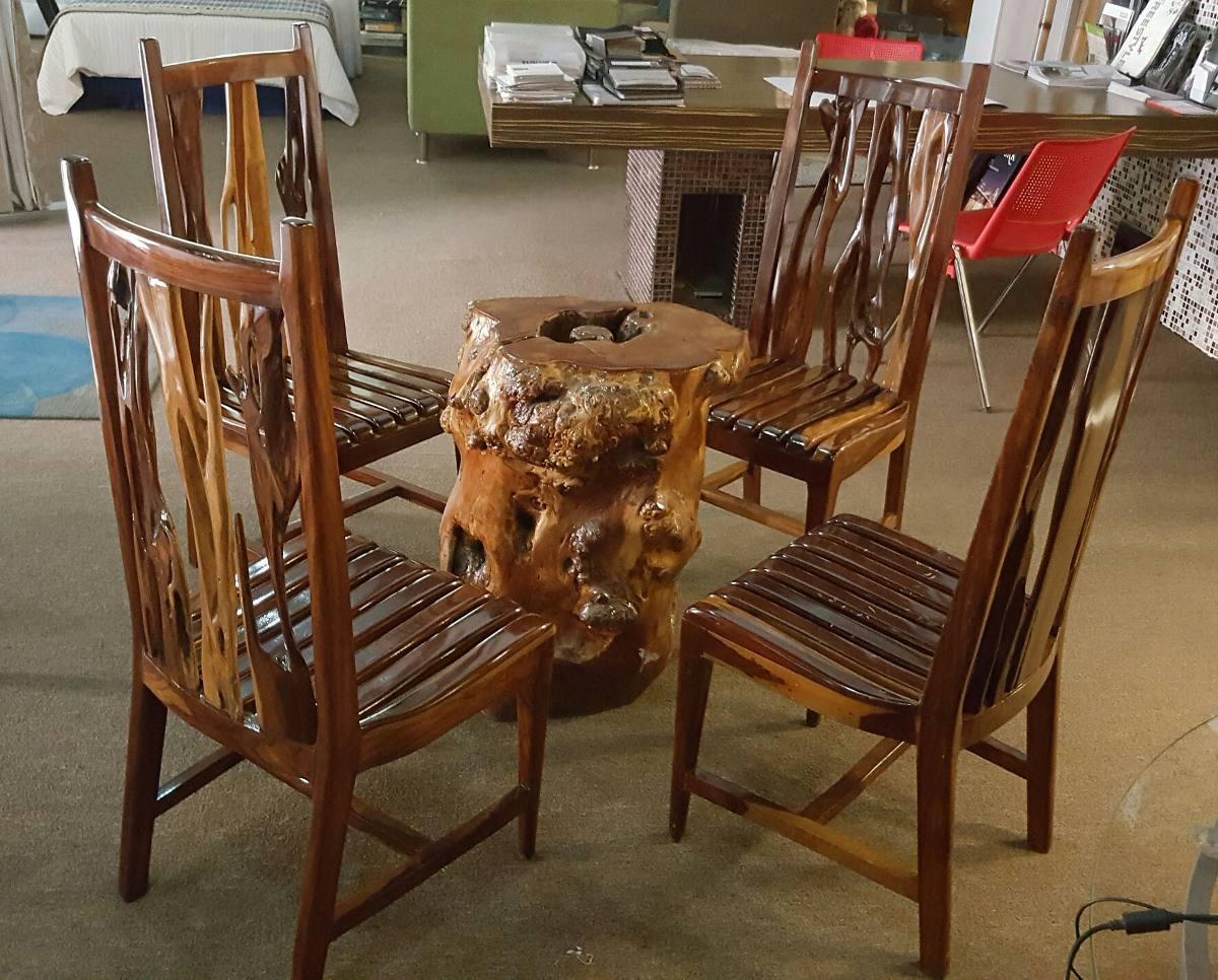 Juego de comedor 4 sillas madera palo brasil base mesa for Comedor de madera 4 sillas