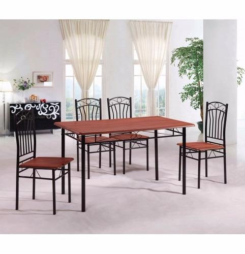 Juego de comedor 4 sillas madera y ca o negro o gris 1 for Juego de comedor 4 sillas madera