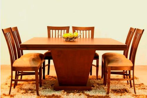 Juego de comedor 6 ptos varios modelos de sillas en madera for Modelos de mesas de comedor de madera