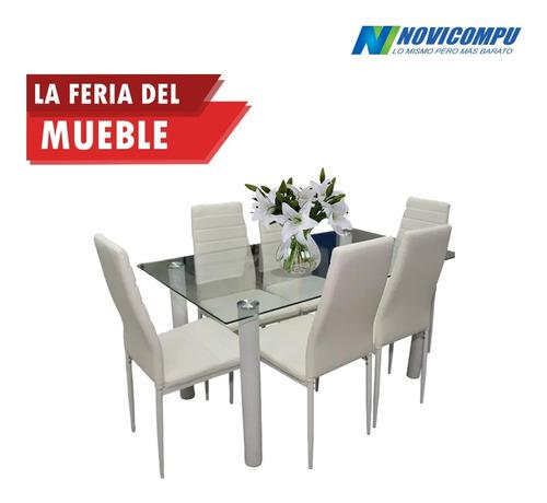 juego de comedor + 6 sillas blancas