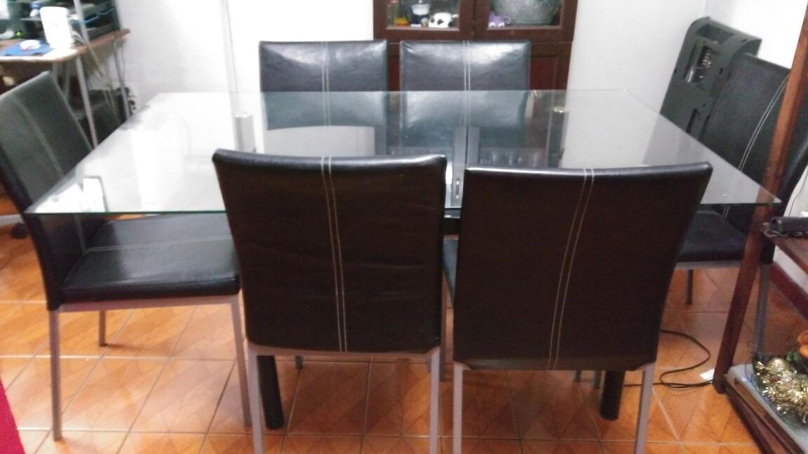 Juego de comedor 6 sillas en cuero 200 en for Comedor 6 sillas usado
