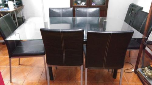Juego de comedor 6 sillas en cuero 150 en for Sillas cuero comedor