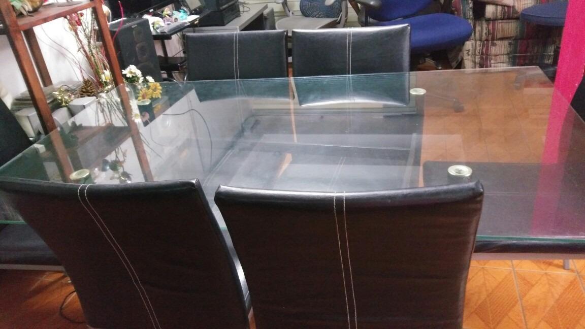 Juego de comedor 6 sillas en cuero 200 en for Sillas de cuero para comedor
