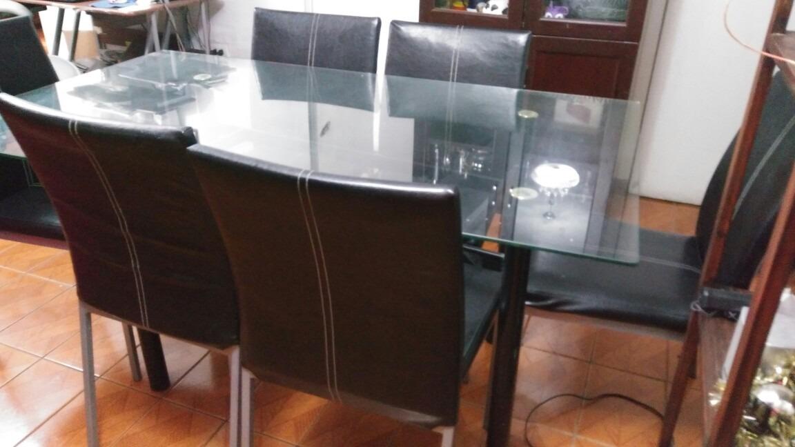 Juego de comedor 6 sillas en cuero 200 en for Juego de 6 sillas para comedor