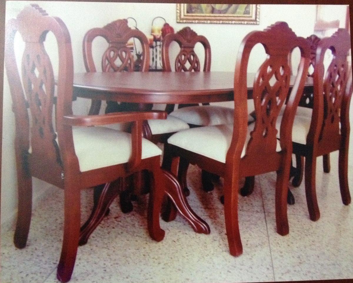 Juego de comedor 6 sillas en madera americana 35 000 for Comedor de madera 6 sillas