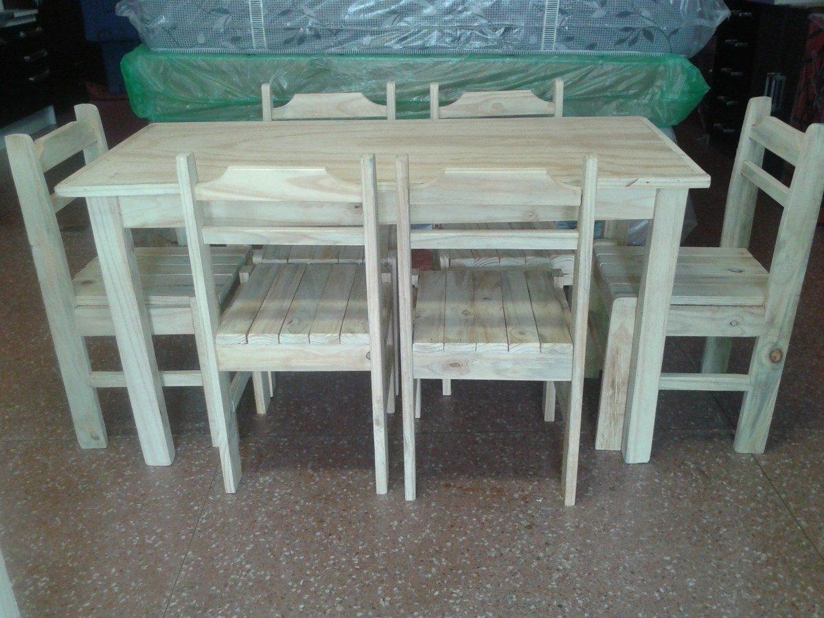 Juego de comedor 6 sillas en madera economico y for Juego de comedor de madera de 6 sillas