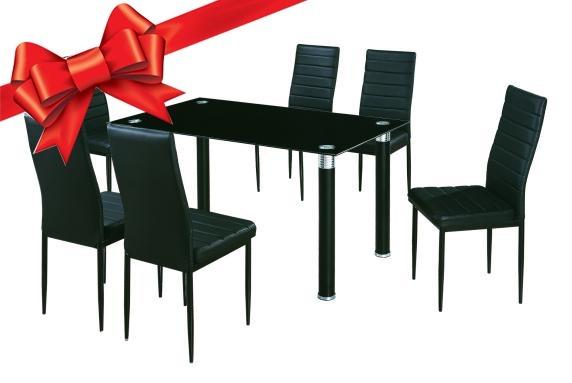 Juego De Comedor 6 Sillas Negras Mesa De Vidrio 53601 Regalo US