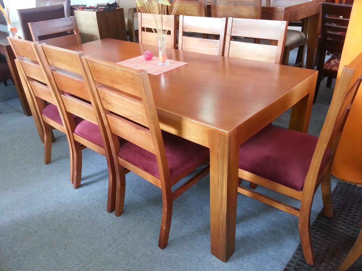 Juego de comedor 8 personas mesa sillas madera maciza for Mesas de comedor de madera de diseno