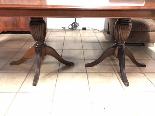 juego de comedor 8 sillas italiano antiguo en madera nogal