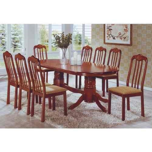 Juego de comedor 8 sillas vulcano caoba madera maciza for Juego de comedor de madera de 6 sillas