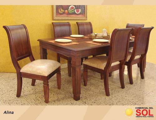 juego de comedor alina de 6 sillas en caoba