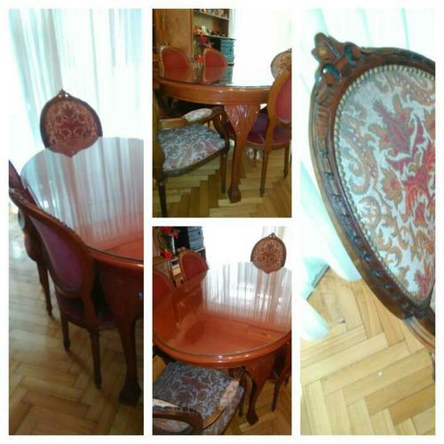 juego de comedor antiguo mesa+sillas+cristalero