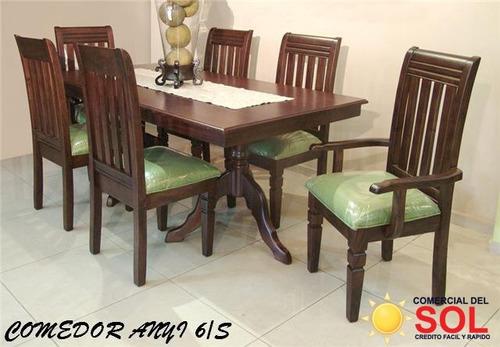 juego de comedor anyi de 6 sillas en caoba