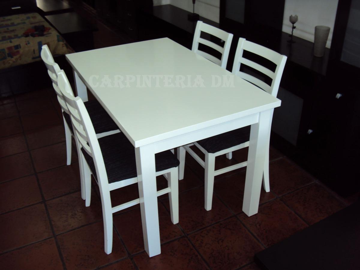 Sillas de madera tapizadas para comedor otro estilo for Juego de mesa y sillas para cocina