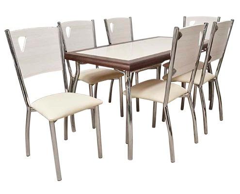 juego de comedor caño pintado 6 sillas mesa laminada jd019