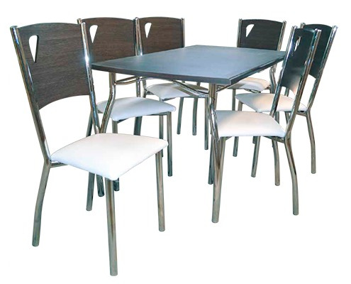 juego de comedor caño pintado 6 sillas mesa melamina jh020