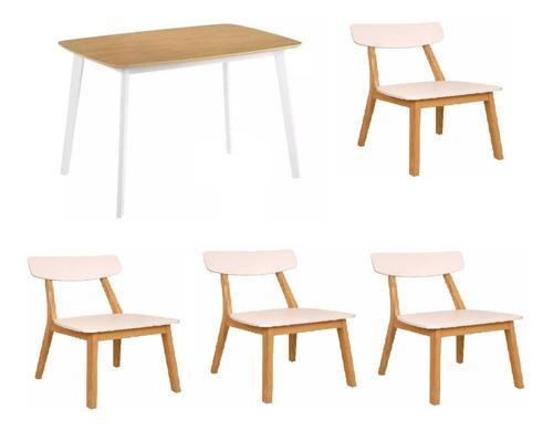 juego de comedor claire mesa 140cm + 4 sillas new claire