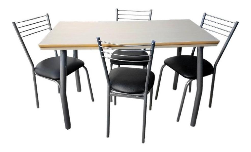Juego De Comedor Con 4 Sillas Reforzadas Mesa 120x60 Cocina Departamento  Melamina C/ Regrueso - Garantia Fabrica
