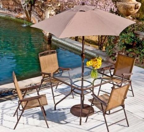 Juego de comedor con parasol para terrazas 6 piezas for Comedor para terraza