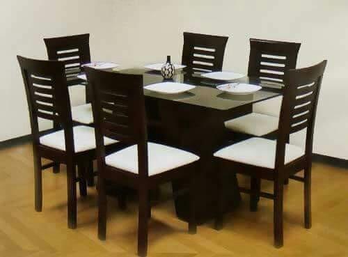 Juego de comedor de 6 sillas en madera tornillo a 1100 s for Juego de comedor peru