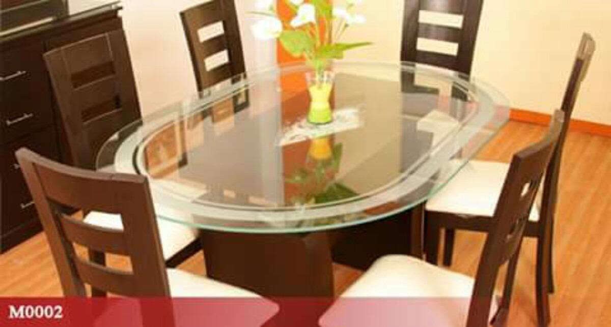 Juego de comedor de 6 sillas en madera tornillo a 1100 s for Comedor de madera 6 sillas
