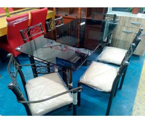 juego de comedor de lujo - mesa de vidrio y 6 sillas