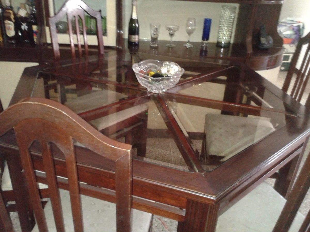 Juego de comedor de madera hexagonal 6 puestos bs for Comedor 12 puestos