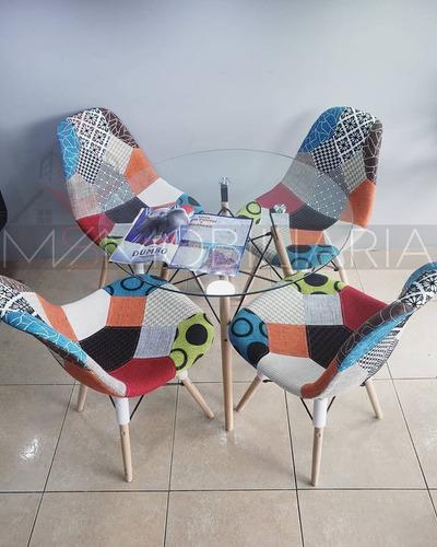 juego de comedor diseño eames y sillas multicolor