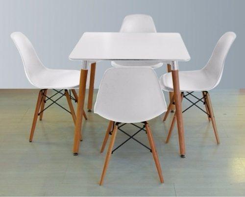 Juego de comedor eames mesa cuadrada y 4 sillas for Oferta mesa y sillas comedor