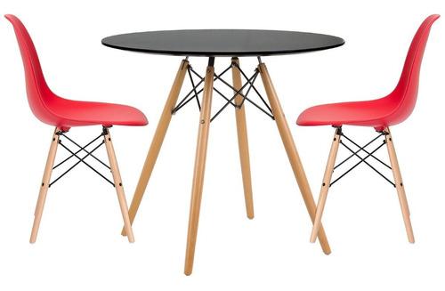 juego de comedor eames mesa redonda + 2 sillas multimuebles