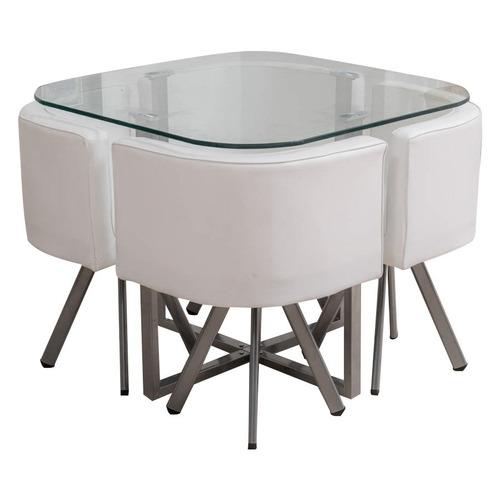 juego de comedor empoli metal y vidrio con 4 butacas en loi
