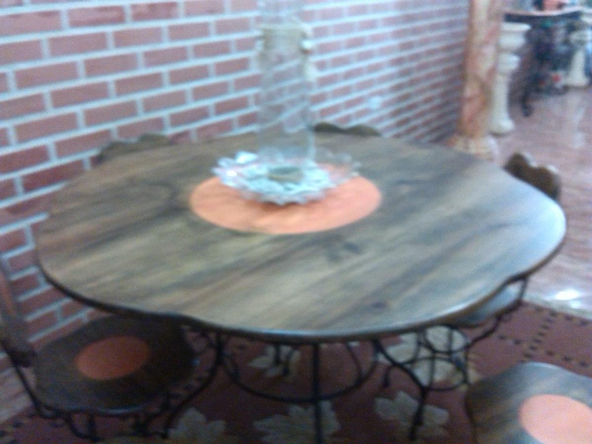 Juego de comedor en hierro forjado y madera 6 sillas bs for Comedor de madera 6 sillas