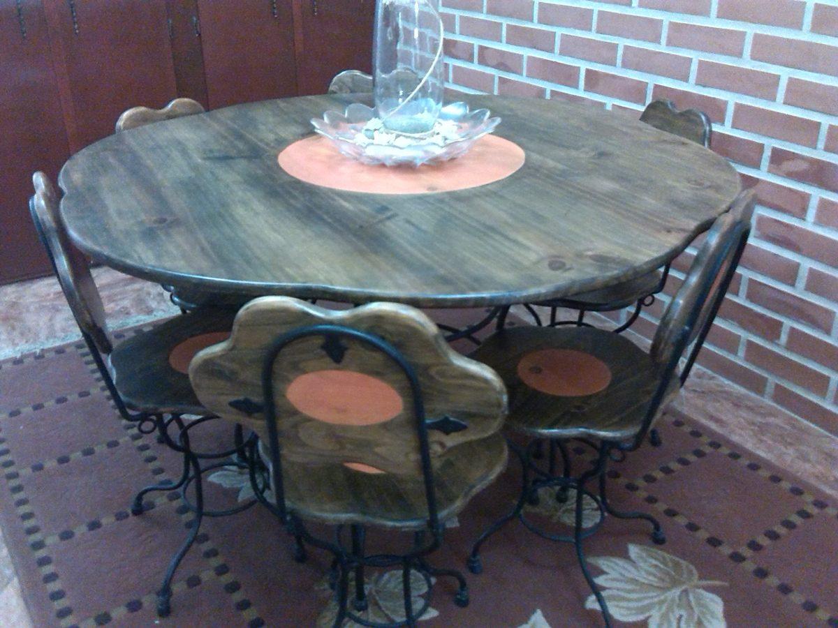 Juego de comedor en hierro forjado y madera 6 sillas bs for Juego de comedor de madera de 6 sillas