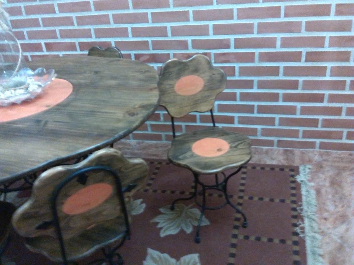 Juego de comedor en hierro forjado y madera 6 sillas bs for Juego comedor madera 6 sillas