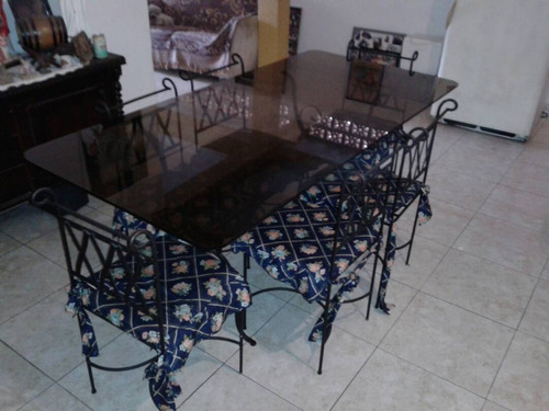 juego de comedor en hierro forjado y vidrio, para 6 personas