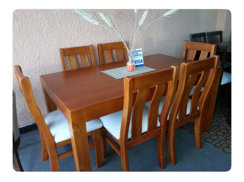 juego de comedor en madera maciza eucaliuptus mesa sillas-