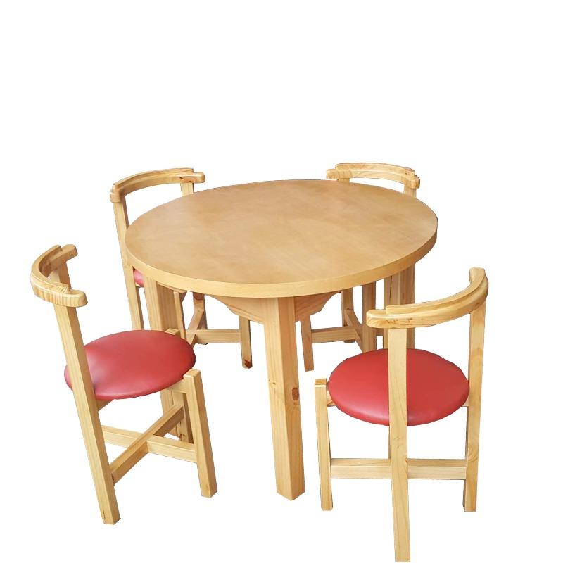 Juego de comedor en madera maciza mesa y 4 sillas for Comedor de madera 4 sillas