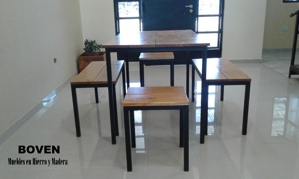 Juego De Comedor Hierro Y Madera Industrial,mesa Y Bancos - $ 6.500 ...