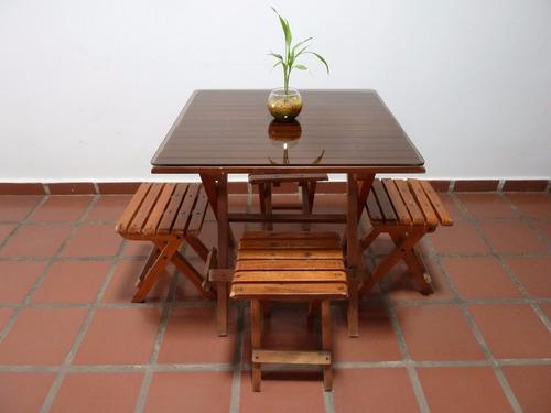 Juego de comedor jard n madera con vidrio entrega for Juego de comedor de vidrio precios