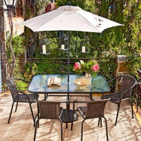 Jardin Mesa4 Sombrilla Comedor Juego De Sillas WEHI2e9DY