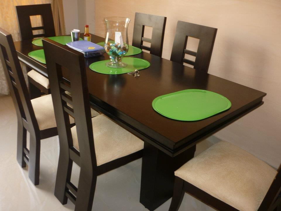 Juego de comedor lineal moderno 6 personas u s 500 00 en for Mesas de comedor rectangulares