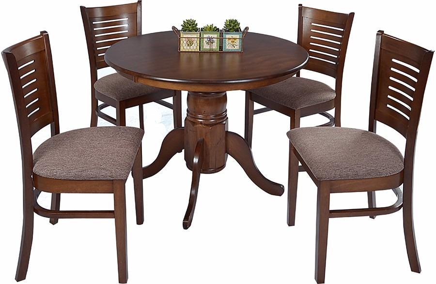 Juego de comedor madera 4 sillas mesa redonda for Comedor 4 sillas madera