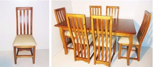 juego de comedor madera, 6 sillas.