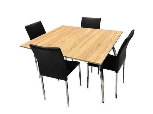 juego de comedor madera extensible eco cuero alta calidad