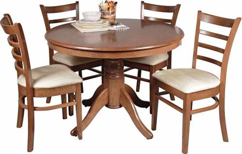 juego de comedor madera maciza - mesa + 4 sillas tapizadas