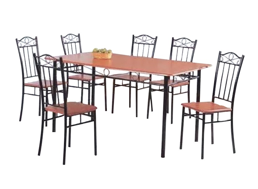 Juego de comedor madera metal 6 sillas for Sillas de metal para comedor
