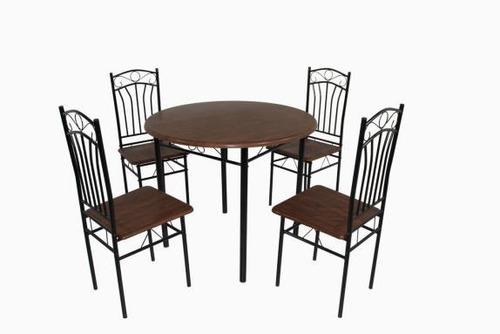 juego de comedor madera/metal 4 sillas mesa redonda