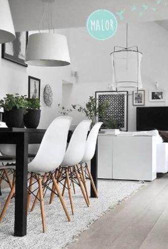 juego de comedor mesa 140x80 + 6 sillas eames en stock